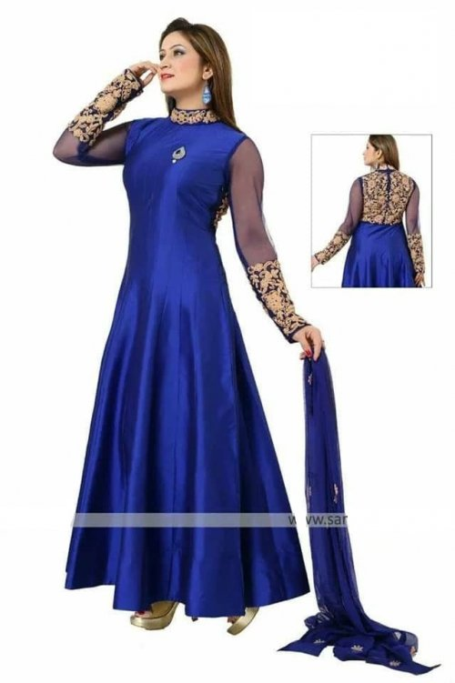 blue un-stitched georgette with embroidery salwar suit