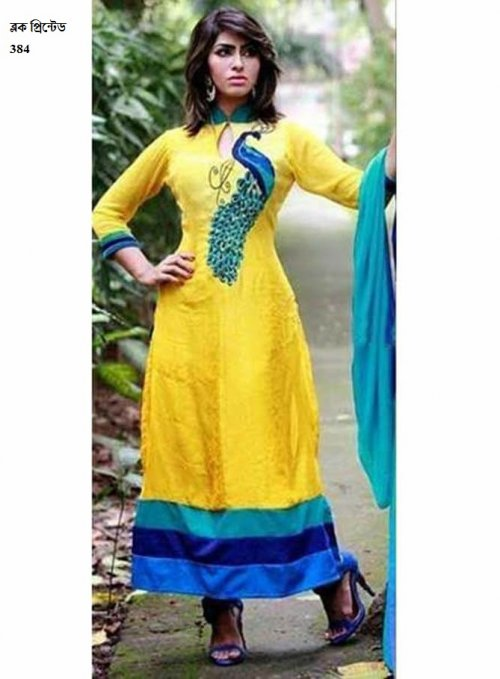 unstiched block printed cotton replica three pcs salwar kameez seblock-384
