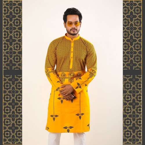 Eid Stylish Semi Long Panjabi Yellow With Black Leaf Design Color