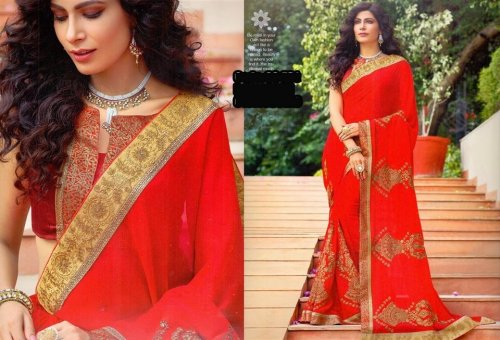 Georgette and embroidery work saree ssc-731