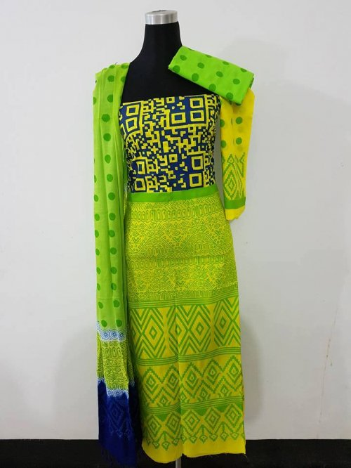 unstiched block printed cotton replica three pcs salwar kameez seblock-557
