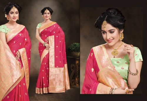 Light Pink and Golden Embroidery Work Katan Saree For Women