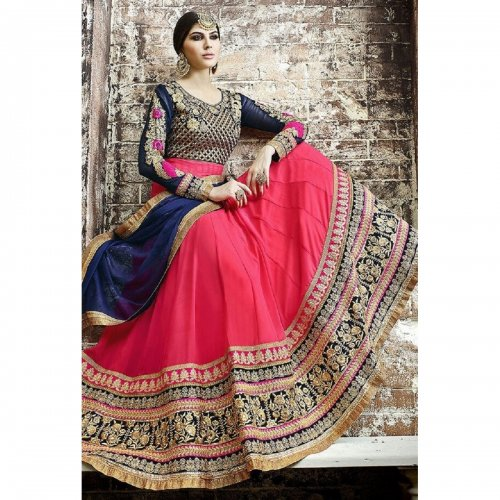 PINK ABAYA STYLE ANARKALI SUIT IN GEORGETTE abaya-16362