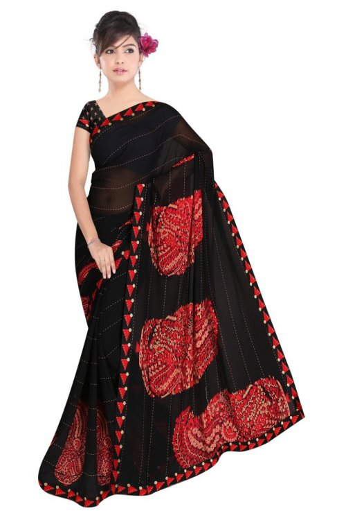 Indian Black And Red Silk Printed saree For women