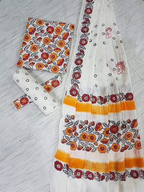unstitched block printed Khadi cotton salwar kameez For women