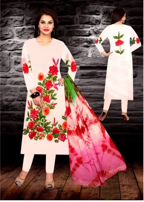 Unstiched brush printed cotton replica salwar kameez seblock-616