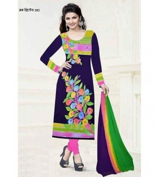unstiched block printed cotton replica three pcs salwar kameez seblock-282