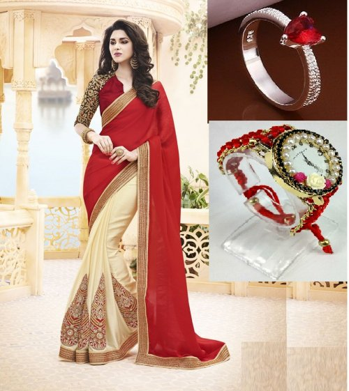 Saree with Beautiful Finger ring and Watch