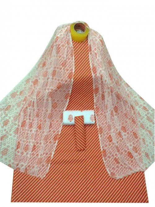 New Stylish Orange Skin Printed 3 pieces For Woman