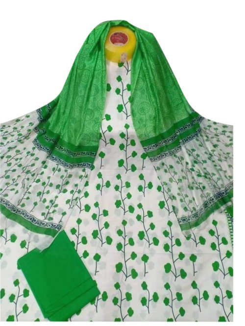 Latest Designed White And Green High Quality Cotton Salwar Kameez for Women