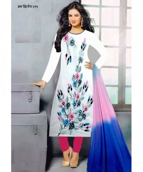 unstiched block printed cotton replica three pcs salwar kameez seblock-277