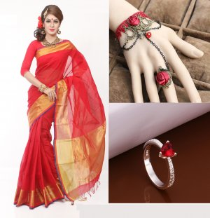 Saree with adjustable bracelet finger ring and Ring 3 in 1