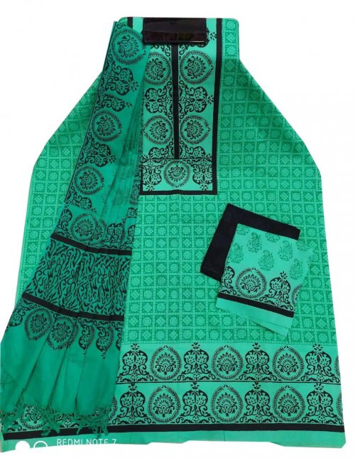 Unstitched Block Printed Cotton Salwar kameez