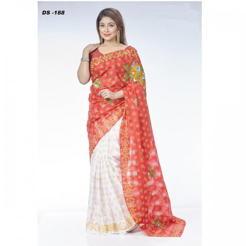 Check Silk Block Printed & Emboidary Work saree DS-188