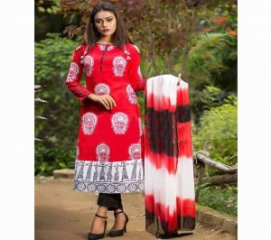 Latest Red Block Printed 3 pieces Salwar Kameez for Women