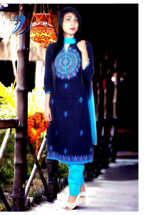 unstitched block printed cotton replica salwar kameez seblock-607