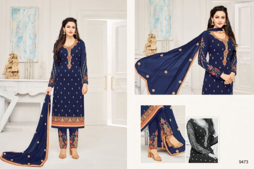 navy blue un-stitched georgette with embroidery salwae kameez