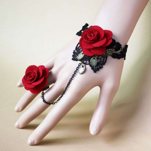 Exclusive Ladies Rose Bracelet with finger ring