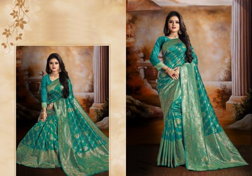 Light Sea Greem and Golden Embroidery Work Katan Saree For Women