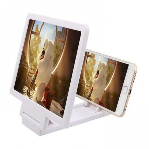 3D Video Enlarged Screen Expanded Stand For Mobile Phone - White