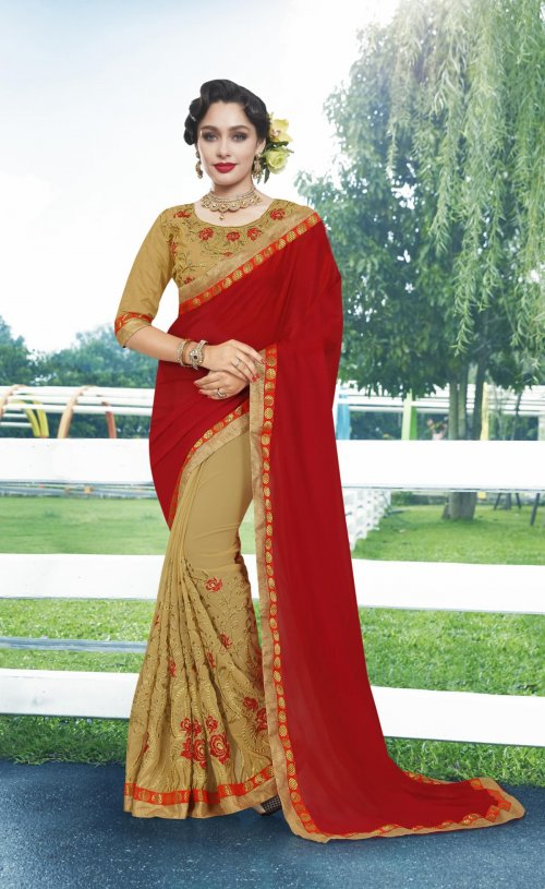Georgette and embroidery work saree nsc-711