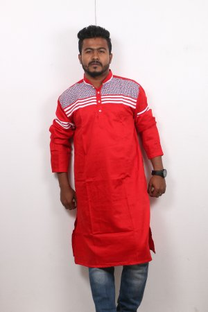 red Cotton Casual Long Panjabi for Men mfz-105