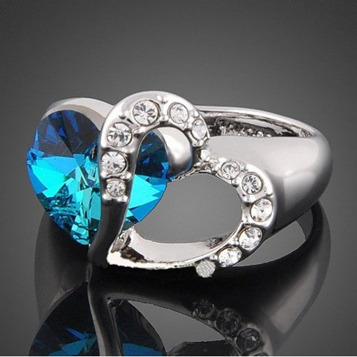 Double Love Heart of Ocean Silver Tone Ring with Deep Blue Austrian Crystal