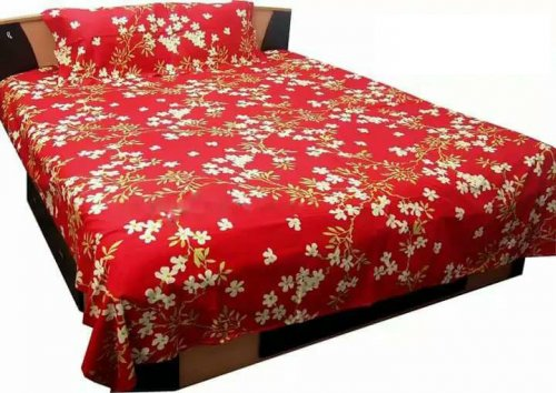 Double Size Cotton Bed Sheet with Matching 2 Pillow Covers - Multicolor