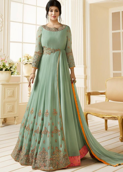 Ayesha Takia Georgette Designed Embroidery Long Salwar Suit