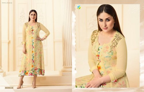 Georgette Yellow Printed Stitched Double Layer Kurti kurti-33820