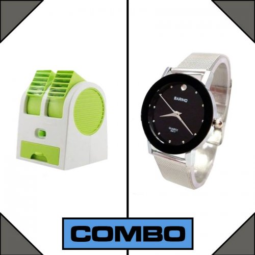 Combo of USB mini Air Cooler + Bariho Wrist Watch
