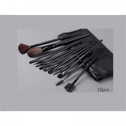 12 Piece Professional Makeup Brushes - Black