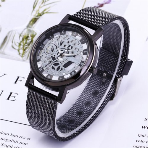 Metallic Mens Fashion Skeleton Watch