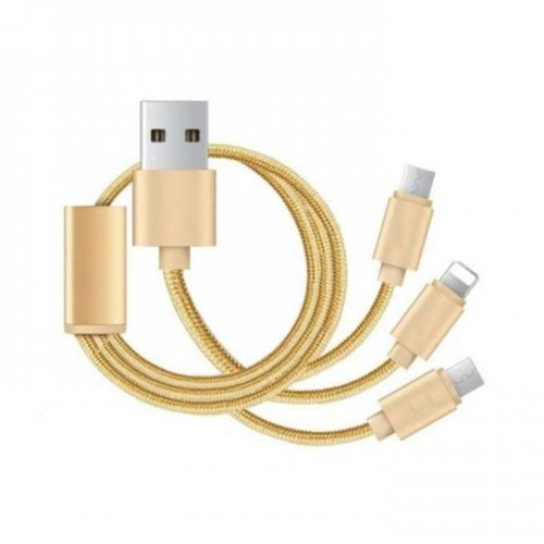 3 in 1 Lightning Charging Cable Type C - Golden
