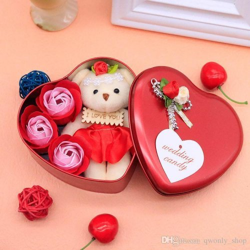 Valentine Day Love Gift -Heart Shape Gift Box (Flowers With Soft Teddy)