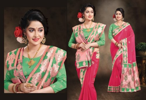 Pink and light green Embroidery Work Katan Saree For Women