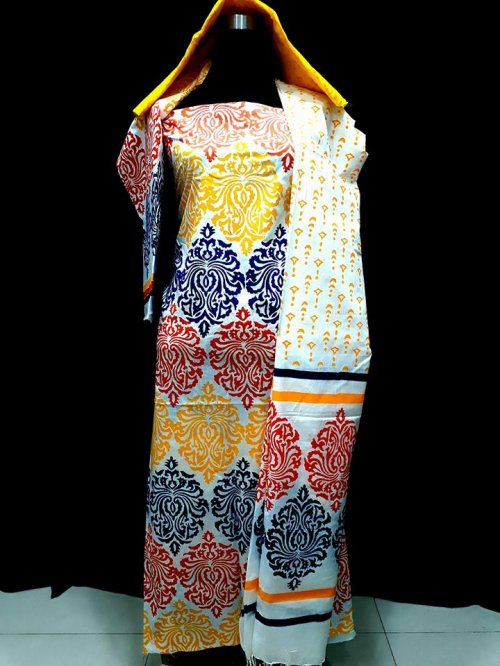 unstiched block printed cotton replica three pcs salwar kameez seblock-520