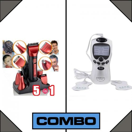 Combo Of Kemei Rechargeable Trimmer 5 In1 + Therapy Machine