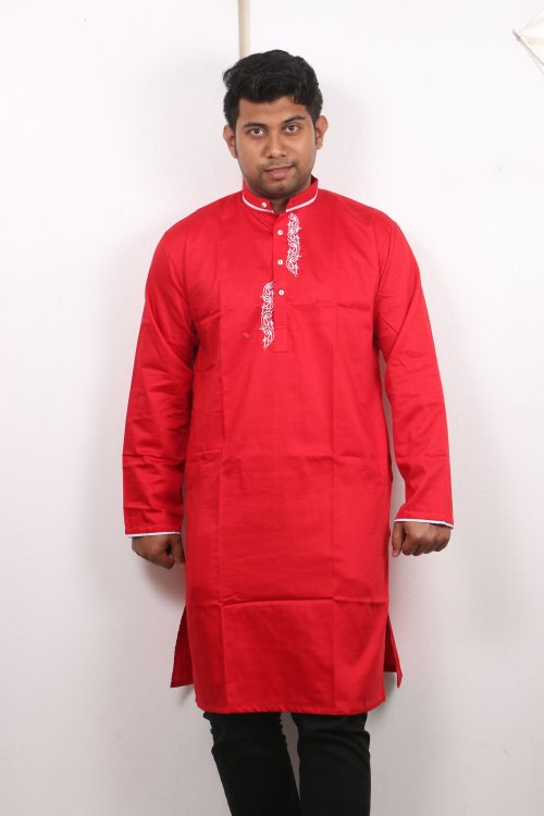 red Cotton Casual Long Panjabi for Men mfz-106
