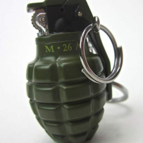 GRENADE SHAPED KEY CHAIN LIGHTER WITH KNIFE