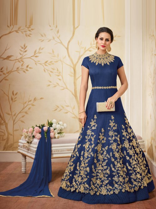 Navy blue un-stitched georgette with embroidery salwar suit