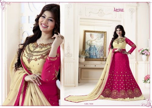 Unstitched Pink and peach georgette salwar suit Lavina-7004