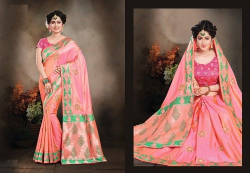 Light Pink and green Embroidery Work Katan Saree For Women