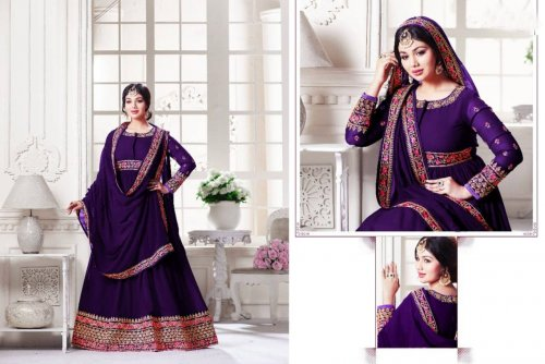 Purple un-stitched georgette with embroidery salwar suit