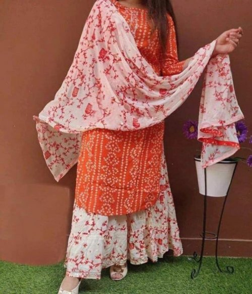 Latest Orange And White Block Printed Salwar Kameez For Women-free size