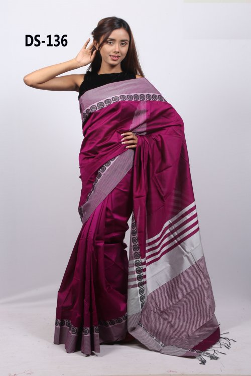 dark red Ora Silk saree for women eid collection