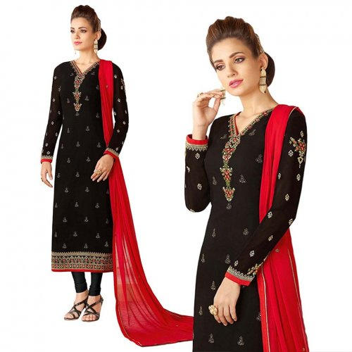 black Georgette with embroidery work salwar kameez