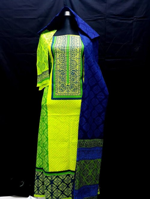 unstiched block printed cotton replica three pcs salwar kameez seblock-515