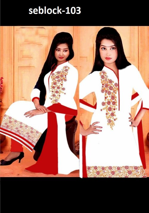 Unstitched Cotton Block Printed Salowar Kameez seblock-103