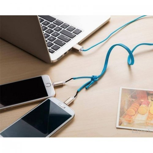 2 IN 1 Zipper Micro USB Data Charger Charging Cable For Samsung